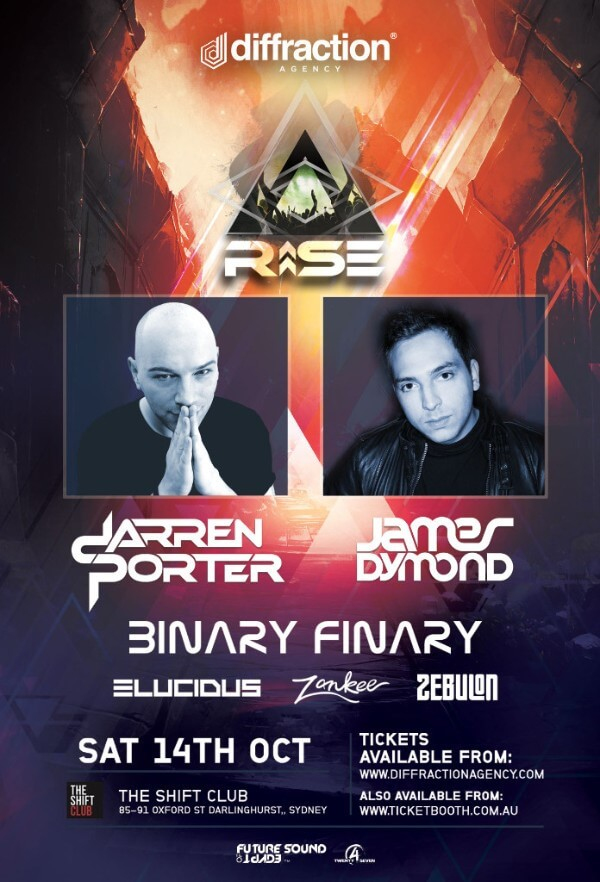 Diffraction presents RISE with Darren Porter, James Dymond and Binary Finary at The Shift Club, Sydney, Australia on 14th of September 2017