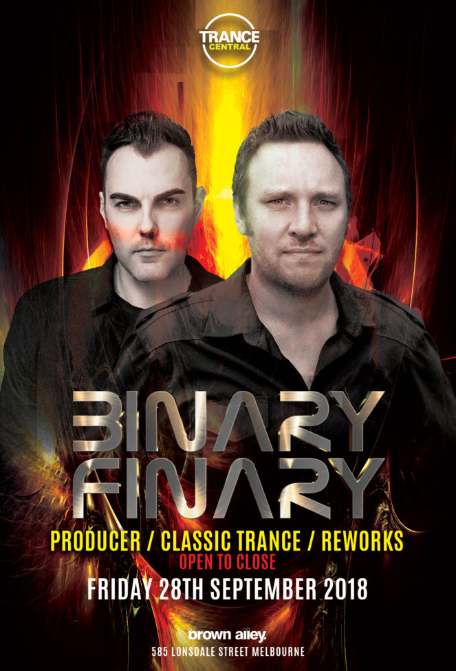 Trance Central presents Binary Finary at Brown Alley, Melbourne, Australia on 28th of September 2018