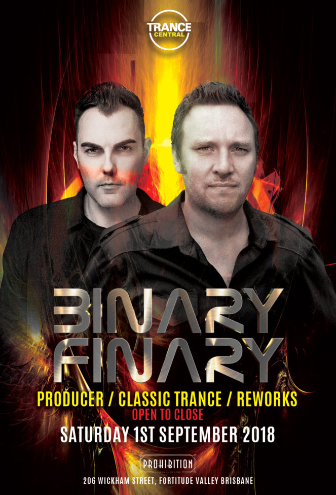 Trance Central presents Binary Finary at Prohibition, Brisbane, Australia on 1st of September 2018
