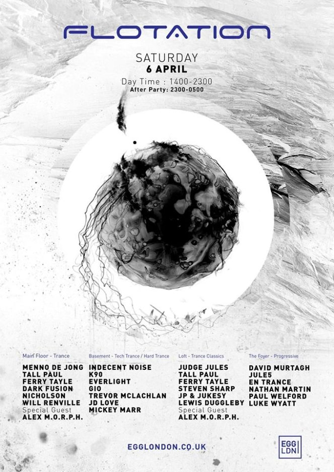 FLOTATION Launch Party at Egg, London, UK on 6th of April 2019