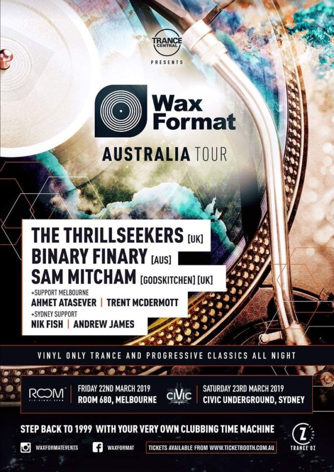 Trance Central presents Wax Format with The Thrillseekers, Binary Finary and Sam Mitcham